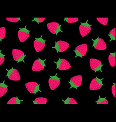 seamless pattern with strawberries on a black vector image vector image