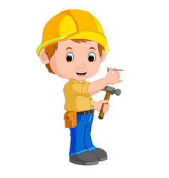 construction worker hammering a nail vector image vector image