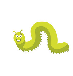 green caterpillar with smiling face and small feet vector image vector image
