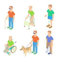 sick people icon set cartoon style vector image vector image