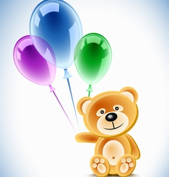 teddybear holding transparent balloons vector image vector image
