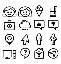 Website menu line stroke icons set - user app vector image vector image