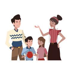 happy family cartoon icon vector image vector image
