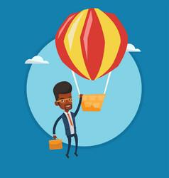 businessman hanging on balloon vector image