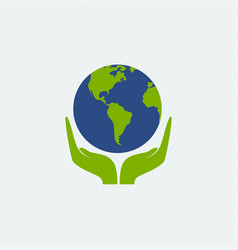 Eco-friendly concept planet in hands vector