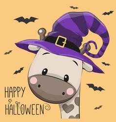 halloween of cartoon giraffe vector image