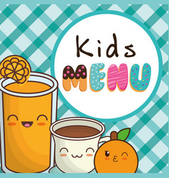 kids menu orange juice chocolate cup vector image vector image