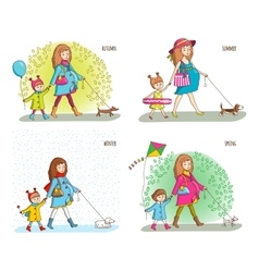 Pregnant woman girl and dog vector image