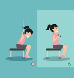 woman wrong and right lat pulldown posture vector image