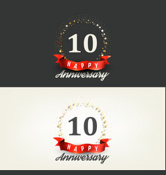 10 years happy anniversary banners vector