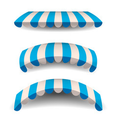 A set of striped blue white awnings canopies for vector