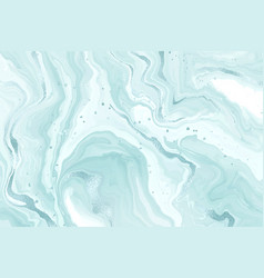 Abstract teal blue liquid marble or watercolor vector