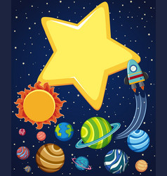 Background scene with rocket and planets in space vector