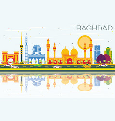 baghdad skyline with color buildings blue sky and vector image
