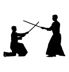 Battle between two aikido fighters silhouette vector