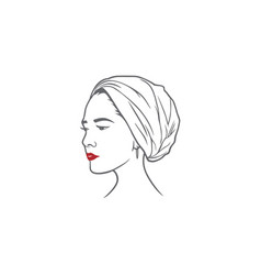 beautiful turban girl hairstyle design vector image