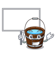 bring board wooden bucket character cartoon vector image