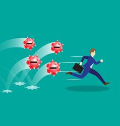 Businessman running from negativity spiky balls vector