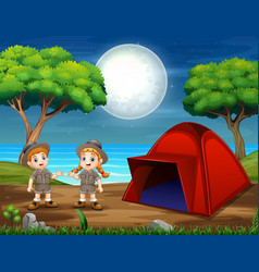 Camping night scene with two scout vector