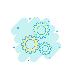 cartoon colored gear icon in comic style vector image