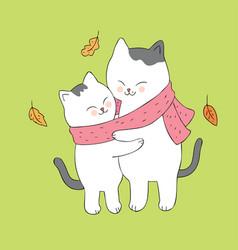 cartoon cute autumn cat hugging vector image