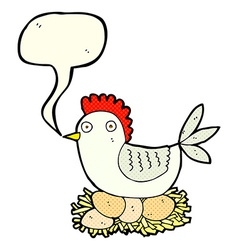 cartoon hen on eggs with speech bubble vector image