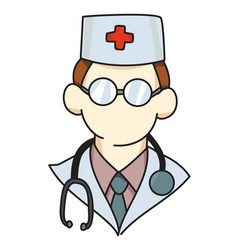 Cartoon image of doctor icon physician symbol vector