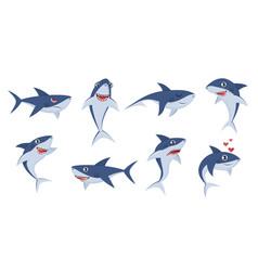 Cartoon sharks comic shark animals cute vector