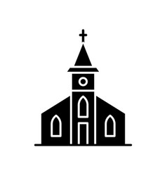 Catholic church black glyph icon vector
