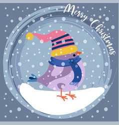 christmas card with cute dressed bird vector image