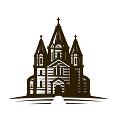 Church place worship or cathedral vintage vector