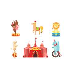 circus performers characters set marquee circus vector image