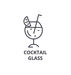 Cocktail glass line icon outline sign linear vector