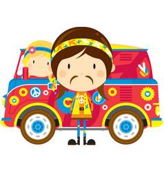 Cute cartoon hippies and van vector