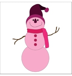 Cute pink snowman on white background vector