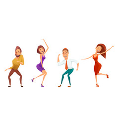 Dancing people funny cartoon style icons vector