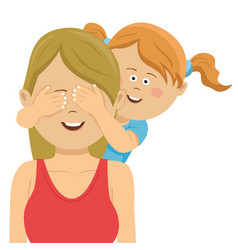 Daughter covering mothers eyes with her hands vector