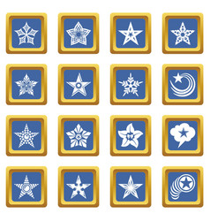 decorative stars icons set blue square vector image