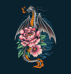 Dragon gave off a fire on a pretty flower vector