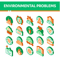 Environmental problems isometric icons set vector