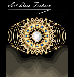 Expensive art deco filigree brooch in with vector