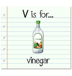 Flashcard letter V is for vinegar vector