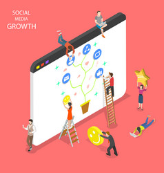 Flat isometric concept of social media vector