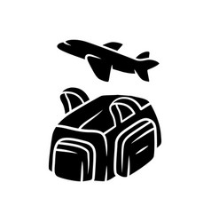 Flight travelling bag glyph icon carry on duffel vector