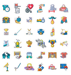 Game on field icons set cartoon style vector