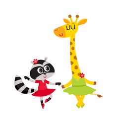 giraffe and raccoon puppy and kitten characters vector image