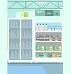 Goods on shelf in supermarket vector