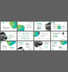 Green geometric slide presentation templates and vector