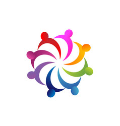 Group teamwork coming together logo vector
