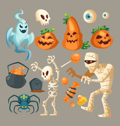 halloween objects october holiday cartoon vector image